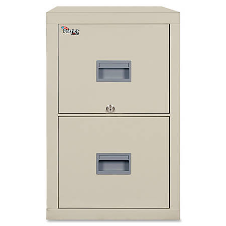"FireKing® Patriot Series Vertical File Cabinet, 25""D, 2 Drawers, Parchment, Dock To Dock Delivery"