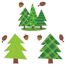 """Educational Décor Woodland Friends Jumbo Designer Cut-Outs, 10"""", Pine Trees, Grades 1-8, Pack Of 12"""