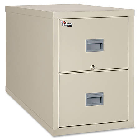 """FireKing® Patriot Series Vertical File Cabinet, Legal-Size, 31 5/8""""D, 2 Drawers, Parchment, Dock To Dock Delivery"""