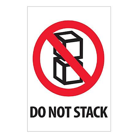 """Tape Logic International Safe-Handling Labels, """"Do Not Stack"""", Rectangular, IPM502, 4"""" x 6"""", Multicolor, Roll Of 500 Labels"""
