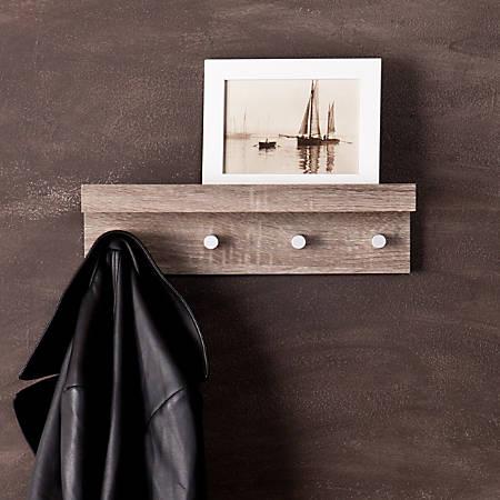 "Southern Enterprises Argo Wall-Mount Shelf, With Hangers, 19"" x 4"", Grayed Oak"