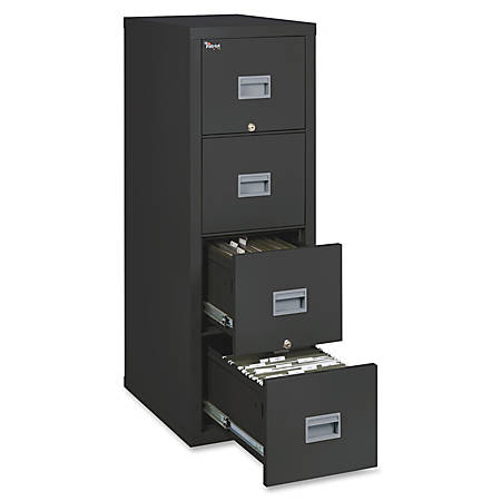"FireKing® Patriot Series Vertical File Cabinet, 25""D, 4 Drawers, Black, Dock To Dock Delivery"