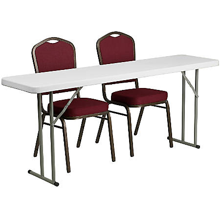 """Flash Furniture Plastic Folding Training Table with 2 Crown-Back Stack Chairs, 29""""H x 72""""W x 18""""D, Burgundy/White"""