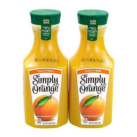 Simply Orange Pulp-Free Orange Juice, 52 Oz, Pack Of 2 Bottles