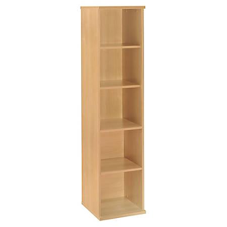 "Bush Business Furniture Components 5 Shelf Bookcase, 18""W, Light Oak, Premium Installation"