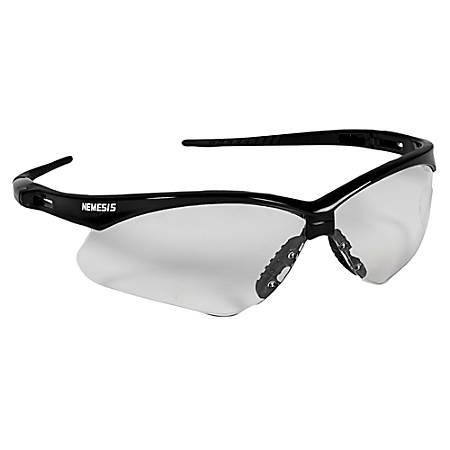 Jackson Safety V30 Nemesis Safety Eyewear - Lightweight, Flexible, Comfortable, Scratch Resistant - Ultraviolet Protection - Polycarbonate Lens - Clear, Black - 1 Each
