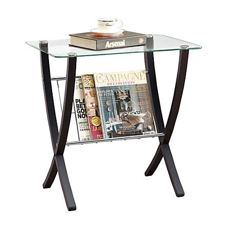 "Monarch Specialties Shelby Accent Table, 24-1/2""H x 24""W x 16-1/4""D, Cappuccino"