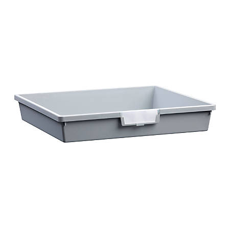 "Storsystem Extra Wide Single Depth Tote Tray, Rectangle, 16.1 Qt, 16 3/4"" x 18 1/2"" x 3"", Light Gray"