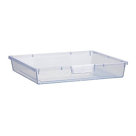 """Storsystem Extra Wide Single Depth Tote Tray, Rectangle, 16.1 Qt, 16 3/4"""" x 18 1/2"""" x 3"""", Clear"""