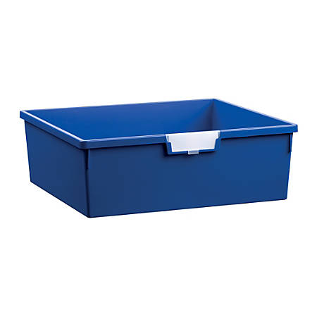 "Storsystem Extra Wide Double Depth Tote Tray, Rectangle, 32.2 Qt, 16 3/4"" x 18 1/2"" x 6"", Primary Blue"