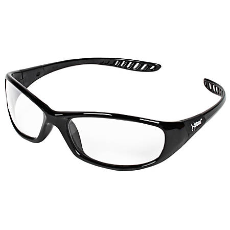 Jackson Safety V40 Hellraiser Safety Eyewear - Lightweight, Flexible, Comfortable, Impact Resistant, Anti-fog - Ultraviolet Protection - Polycarbonate Lens - Clear, Black - 1 Each