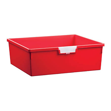 "Storsystem Extra Wide Double Depth Tote Tray, Rectangle, 32.2 Qt, 16 3/4"" x 18 1/2"" x 6"", Primary Red"