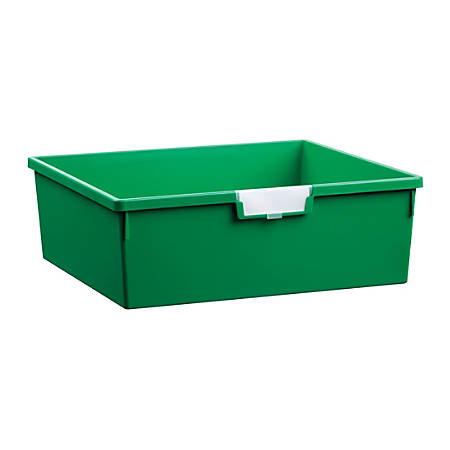 """Storsystem Extra Wide Double Depth Tote Tray, Rectangle, 32.2 Qt, 16 3/4"""" x 18 1/2"""" x 6"""", Primary Green"""