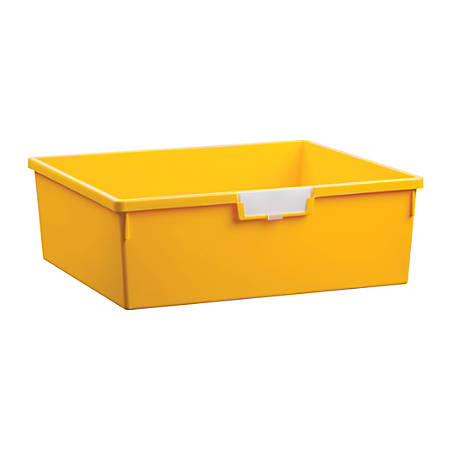 """Storsystem Extra Wide Double Depth Tote Tray, Rectangle, 32.2 Qt, 16 3/4"""" x 18 1/2"""" x 6"""", Primary Yellow"""