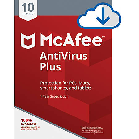 McAfee® AntiVirus Plus, For PC or Mac, 10 Devices,  1 Year Subscription, Download