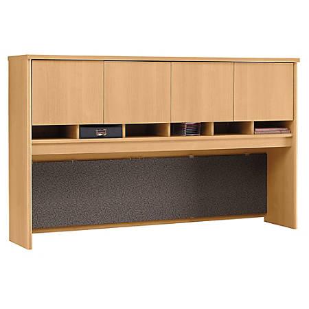 "Bush Business Furniture Components 4 Door Hutch, 72""W, Light Oak, Premium Installation"