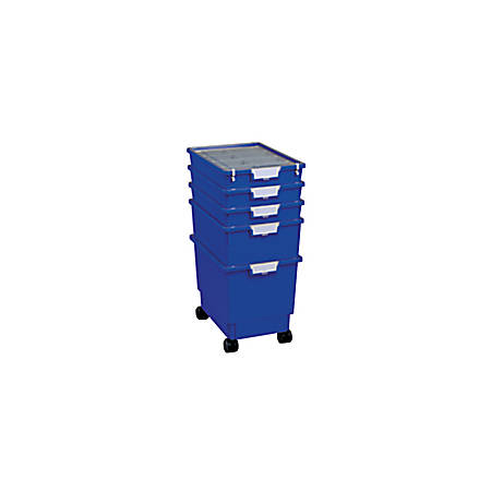 "Storsystem Standard-Width Rollatray Kit, 16 3/4"" x 12 1/3"" x 28 1/4"", Primary Blue"