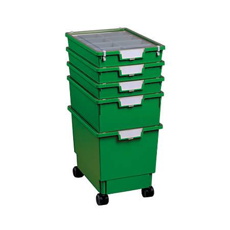 "Storsystem Standard-Width Rollatray Kit, 16 3/4"" x 12 1/3"" x 28 1/4"", Primary Green"