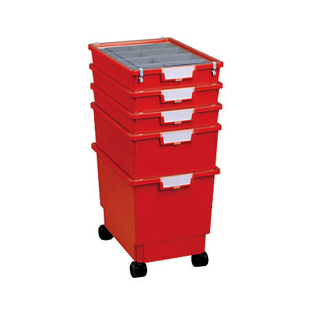 "Storsystem Standard-Width Rollatray Kit, 16 3/4"" x 12 1/3"" x 28 1/4"", Primary Red"