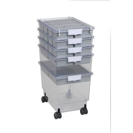"Storsystem Standard-Width Rollatray Kit, 16 3/4"" x 12 1/3"" x 28 1/4"", Primary Clear"