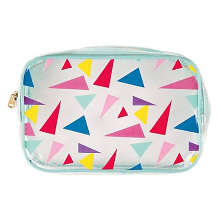 """Divoga® Rounded Pencil Pouch, 5 1/2""""H x 8 1/4""""W x 1 5/8""""D, Bright Triangles"""