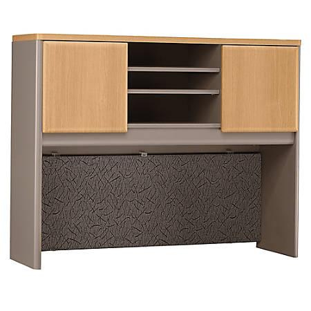 "Bush Business Furniture Office Advantage Hutch 48""W, Light Oak/Sage, Premium Installation"