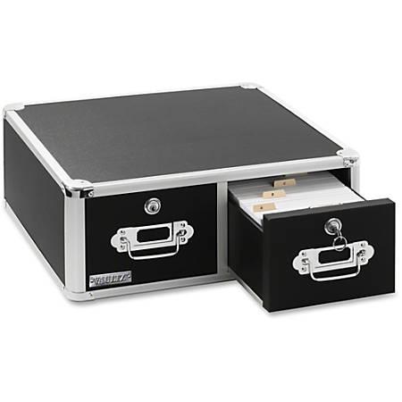 "Vaultz® Locking Index Card Cabinet For 3"" x 5"" Cards, 2-Drawer, 5 1/2""H x 14""W x 14 1/4""D, Black"