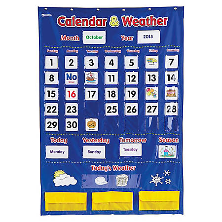 """Learning Resources Calendar And Weather Pocket Chart, 30 3/4"""" x 44 1/4"""", Blue/Yellow, Pre-K - Grade 2"""