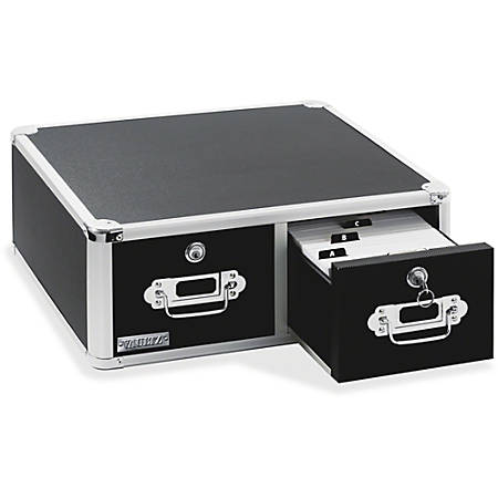 "Vaultz® Locking Index Card Cabinet For 4"" x 6"" Cards, 2-Drawer, 6 3/4""H x 14""W x 16""D, Black"