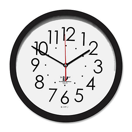 "Chicago Lighthouse Contemporary Self-Set Wall Clock, 14 1/2"", Black/White"