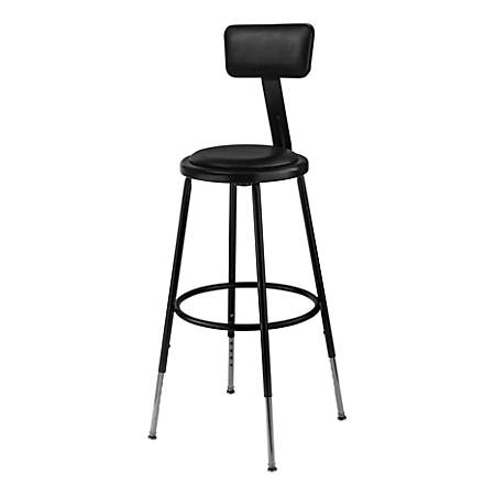 "National Public Seating 6400H-10 Adjustable-Height Stools With Backrests, 25""H, Black, Set Of 4 Stools"