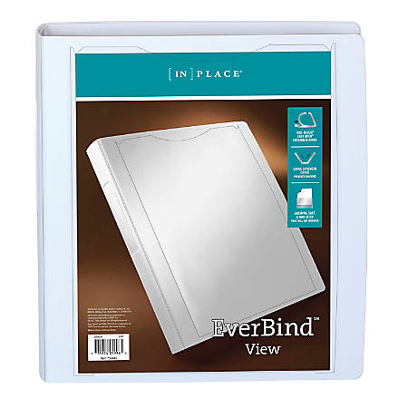 """Office Depot® Brand Everbind™ D-Ring View Binder, 1 1/2"""" Rings, White"""