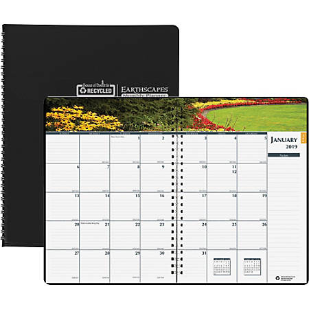 """House of Doolittle Earthscapes Gardens Monthly Planner - Yes - Monthly - 1 Year - January 2019 till December 2019 - 1 Month Double Page Layout - 7"""" x 10"""" - Wire Bound - Paper - Black - Non-refillable"""