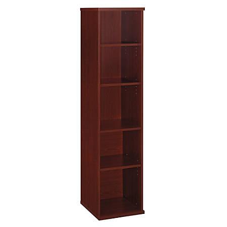 "Bush Business Furniture Components 5 Shelf Bookcase, 18""W, Mahogany, Premium Installation"