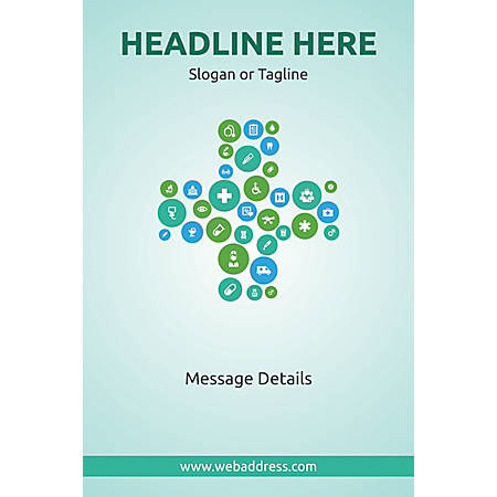 Adhesive Sign, Health Icons, Vertical