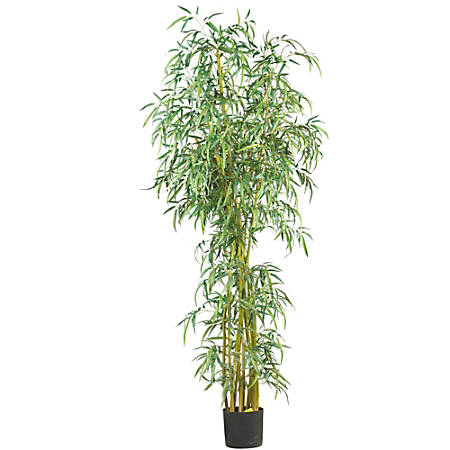 Nearly Natural 7'H Silk Curved Slim Bamboo Tree With Pot, Green