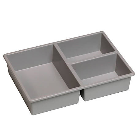 "Storsystem Stortray Insert, 3 Division Short, 7 3/4"" x 11 1/4"" x 2 1/2"", Light Gray"