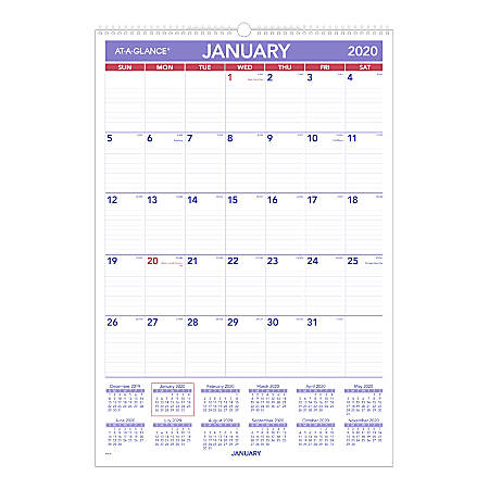 "AT-A-GLANCE® Monthly Wall Calendar, 15-1/2"" x 22-3/4"", January To December 2020, PM328"