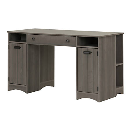 South Shore Artwork Rectangle Craft Table With Storage, Gray Maple