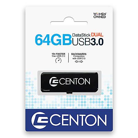 Centon Datastick Dual USB 3.0 Drive, 64GB, Black
