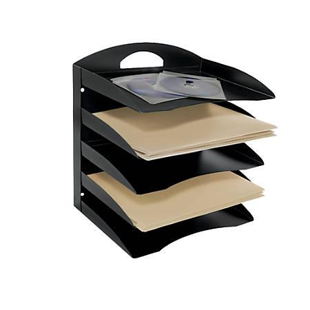 "Brenton Studio™ 58% Recycled 5-Tier Horizontal Desk Organizer, Letter Size, 13 1/4""H x 12 1/8""W x 8 3/4""D, Black"