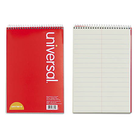 "Universal® Steno Book, 6"" x 9"", Pitman Ruled, 120 Pages (60 Sheets), Red"