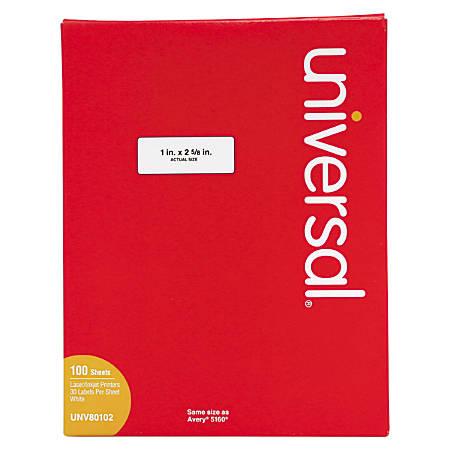 "Universal® Permanent Labels, UNV80102, 1"" x 2 5/8"", White, Box Of 3,000"