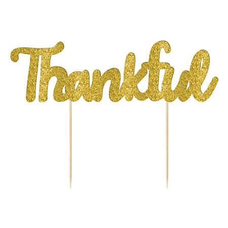 "Amscan Fall Thankful Pie Picks, 7-1/2"", Gold, Pack Of 4 Picks"