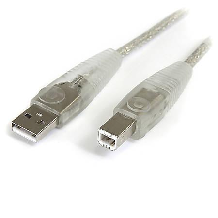 StarTech.com Transparent USB 2.0 cable - 4 pin USB Type A (M) - 4 pin USB Type B (M) - ( USB / Hi-Speed USB ) - 10 ft