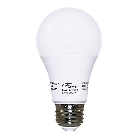 Euri A19 Dimmable 230° 800 Lumens LED Light Bulbs, 9.5 Watt, 3000 Kelvin/Warm White, Pack Of 2 Bulbs