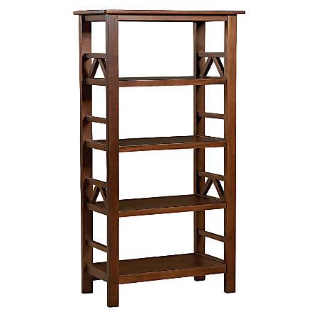 Linon Home Décor Titian 4-Shelf Bookcase, Antique Tobacco
