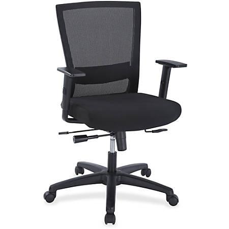 Lorell® Comfort Mesh Mid-Back Fabric Seat Chair, Seat Slide, Black