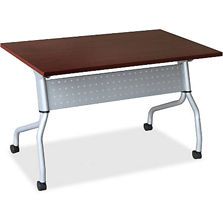 "Lorell® Flip Top Training Table, 48""W, Mahogany/Silver"