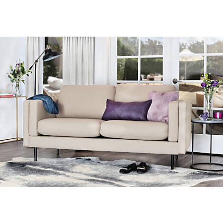 Elle Décor Simone Double-Track Arm Sofa, Cream/Espresso